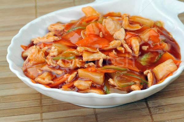 Párolt zöldségek edény finom hús kínai Stock fotó © taden