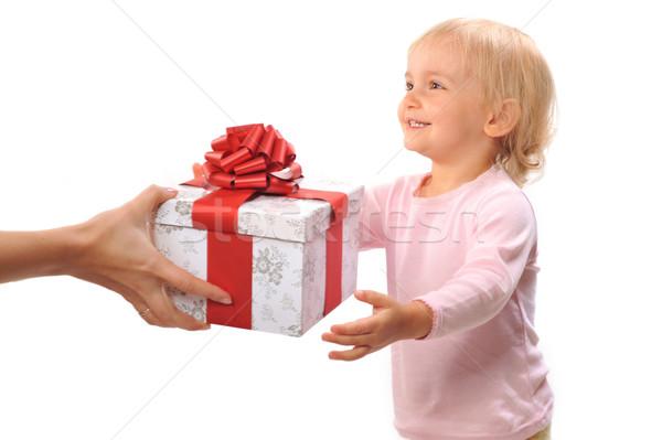 Ragazza regalo isolato bianco bambina carta Foto d'archivio © taden