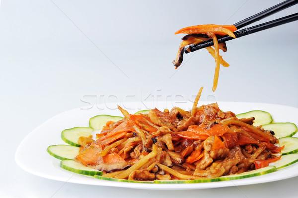 Gestoomd groenten vlees chinese keuken hout Stockfoto © taden