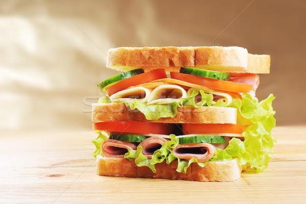 Stock foto: Lecker · Sandwich · frischen · Holztisch · Gruppe · Fleisch