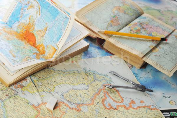 地図 古い アトラス 図書 紙 ストックフォト © taden
