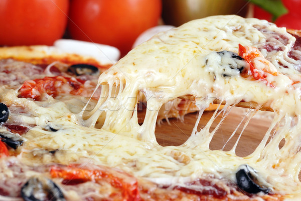 Rebanada frescos pizza pepperoni aceitunas Foto stock © taden