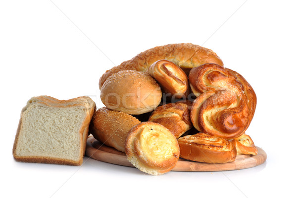 Friss sült kenyér étel kávé háttér Stock fotó © taden