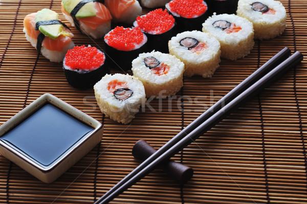 Geleneksel Japon sushi taze lezzetli gıda Stok fotoğraf © taden