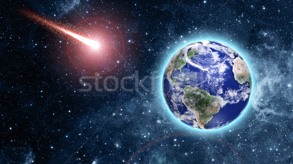 comet coming to blue planet in space Stock photo © taden