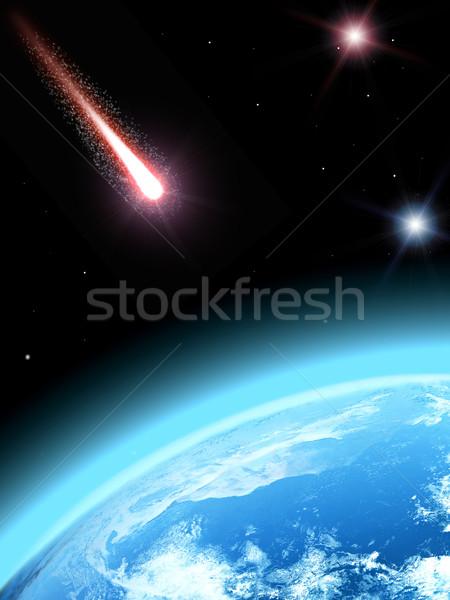 下がり 彗星 地球 世界中 太陽 地図 ストックフォト © taden