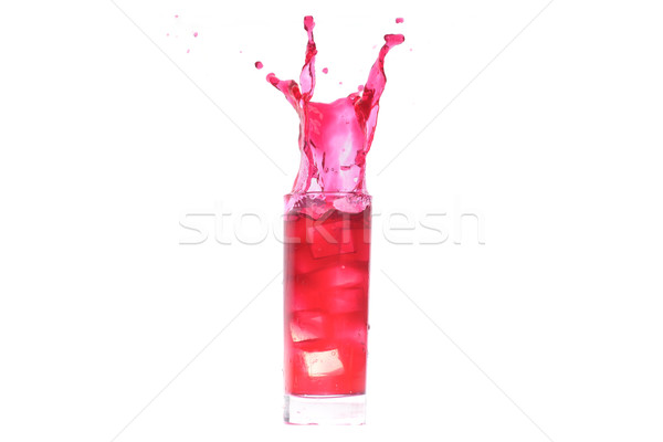Cocktail rouge verre cube glace Photo stock © taden