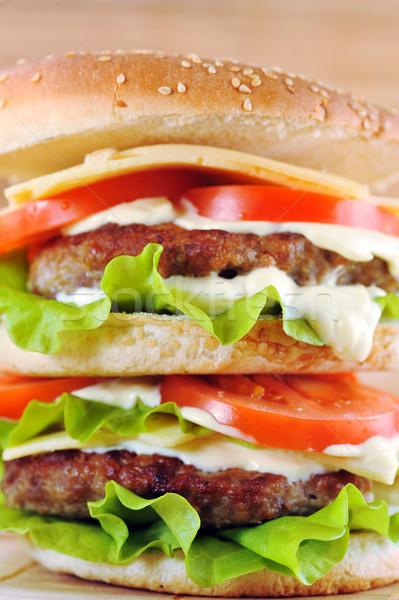 Hamburger zöldségek közelkép asztal csoport hús Stock fotó © taden