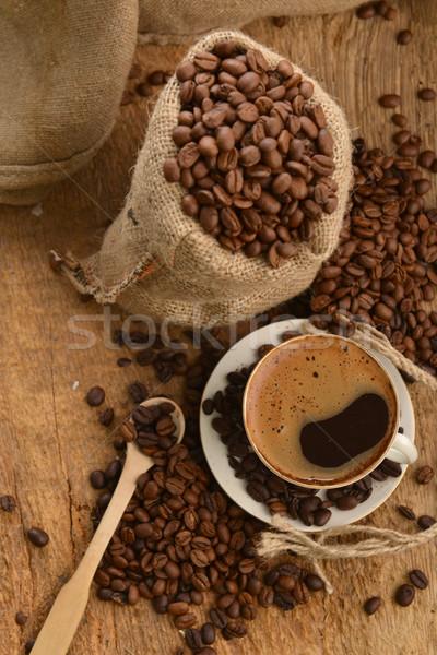 Stockfoto: Koffiebonen · bonen · beker · zak · achter · zwarte · koffie