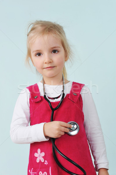 Little girl  and stethoscope Stock photo © taden