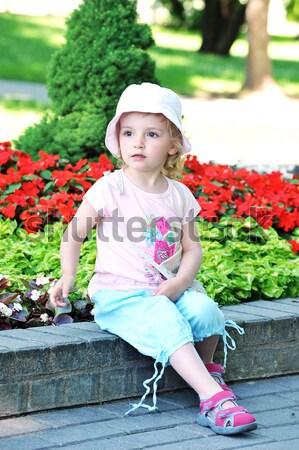 девочку парка цветы семьи стороны трава Сток-фото © taden