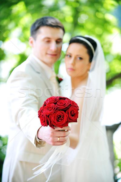 Noivo noiva vestido branco verde árvores flor Foto stock © taden