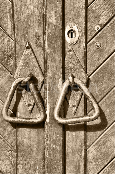 öreg fából készült ajtó ház építészet acél Stock fotó © taden