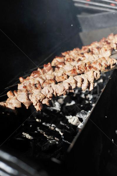 Hús szeletek előkészítés mártás tűz étel Stock fotó © taden