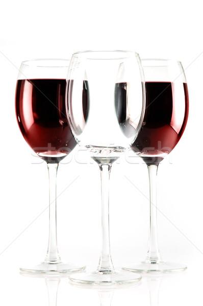 Tres vino uno vacío vidrio dos Foto stock © taden