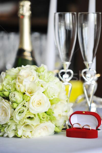 Candele bicchiere di vino tavola fiori compleanno Foto d'archivio © taden