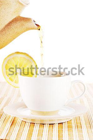 ストックフォト: ホット · 茶 · レモン · ティーポット · カップ · ホーム