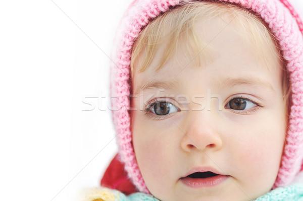 Boldog kicsi kislány tél portré baba Stock fotó © taden