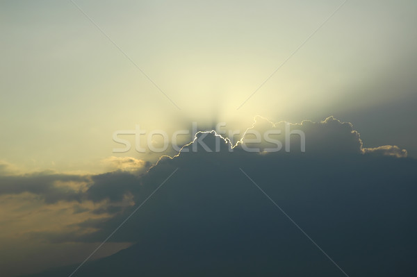 太陽 日光 雲 教会 青 ストックフォト © taden