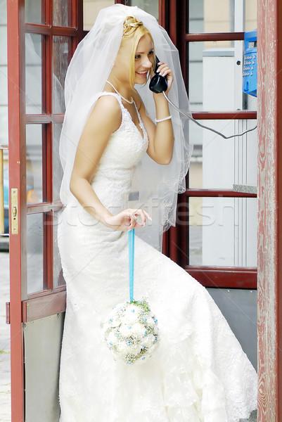 Gelin çağrı telefon çiçek sevmek moda Stok fotoğraf © taden