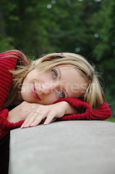 Nina retrato bastante azul dientes jóvenes Foto stock © taden