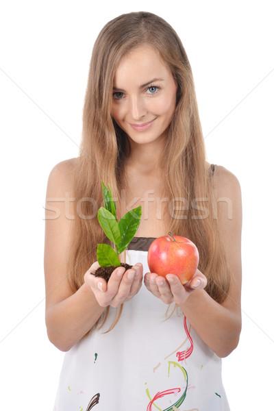 Stockfoto: Jonge · vrouw · mooie · groene · spruit · boom