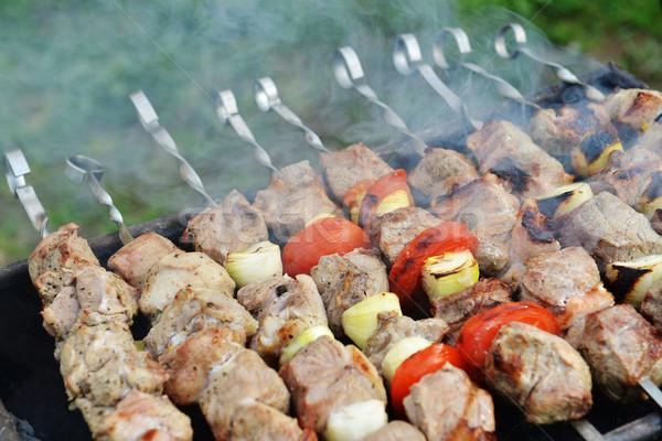 Finom grillezett hús barbecue hagymák grill étel Stock fotó © taden