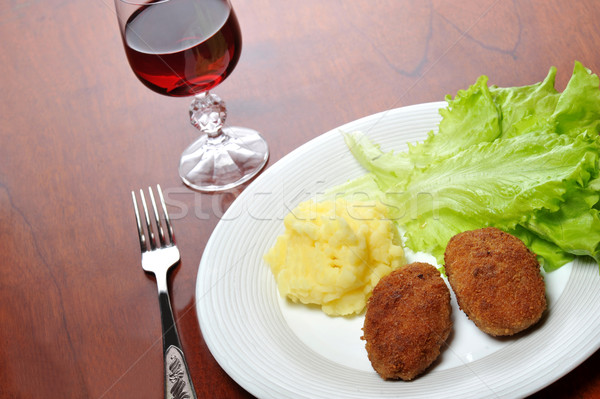 roasted cutlets  and  wine Stock photo © taden