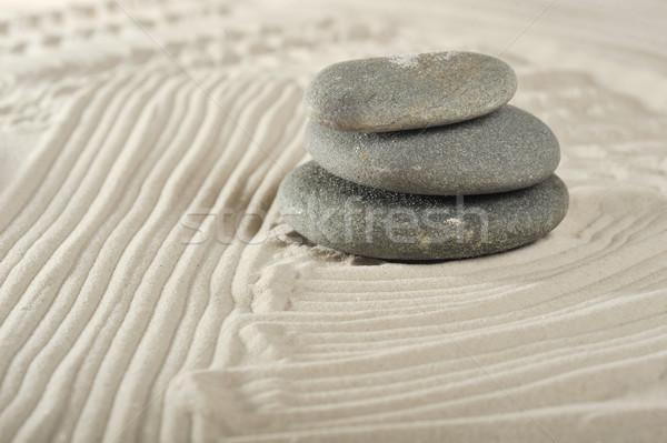 Stockfoto: Stenen · zee · zand · grijs · abstract