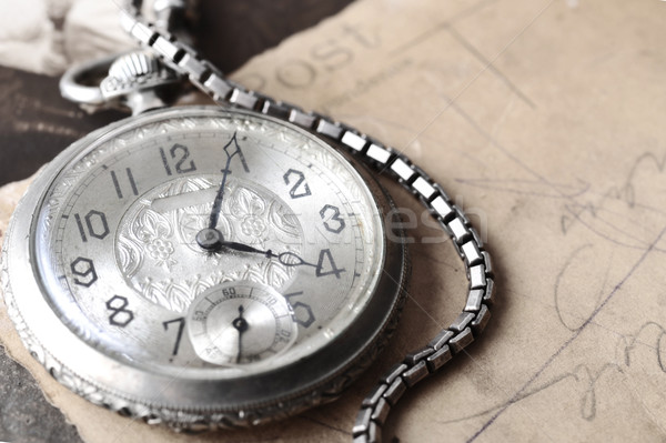 very old watch on the grungde post card and photo Stock photo © taden