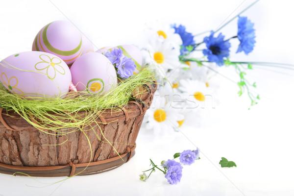 Stockfoto: Mand · paaseieren · houten · Pasen · voorjaar