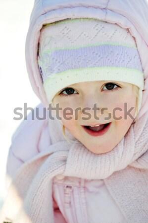 Nina blanco sombrero invierno bebé ninos Foto stock © taden