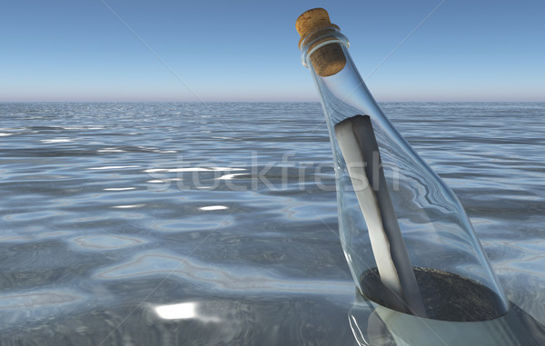 сообщение бутылку морем Размышления поверхность Сток-фото © TaiChesco