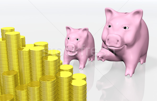 Stock photo: pink piggy indicates a stack of coins