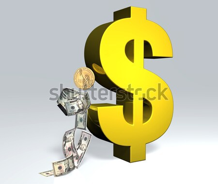Dollár férfi magasra tart szimbólum bankjegyek érme Stock fotó © TaiChesco