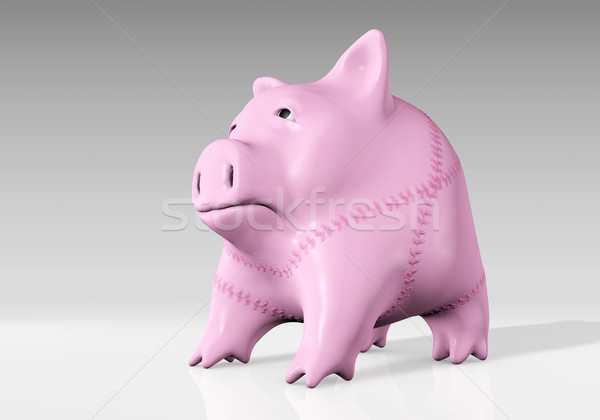 piggy bank has been mended Stock photo © TaiChesco