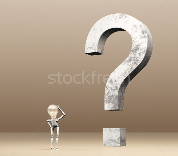 lamp character is watching a question mark Stock photo © TaiChesco