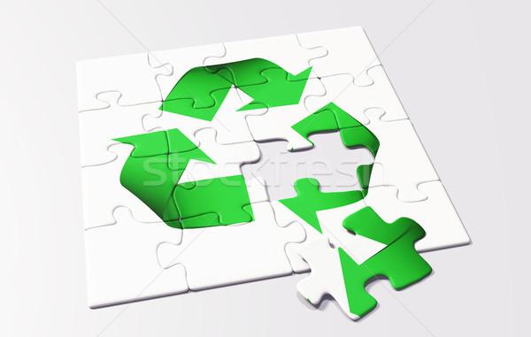 újrahasznosítás puzzle utolsó hiányzó darab zöld Stock fotó © TaiChesco