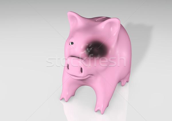 Piggy bank preto olho triste rosa fechar Foto stock © TaiChesco