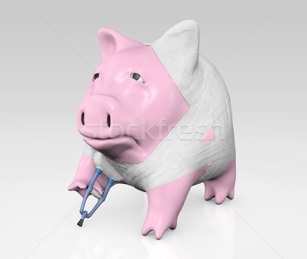 Piggy bank rosa triste coberto muleta fundo Foto stock © TaiChesco