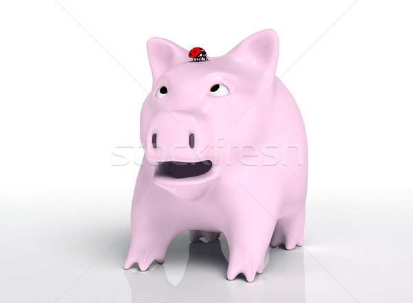 Surprised piggy bank with ladybug on head Stock photo © TaiChesco