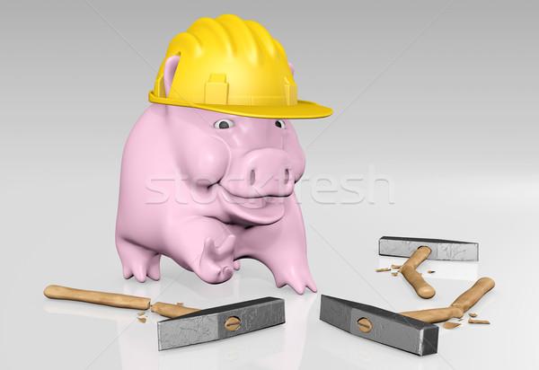Piggy Bank победу счастливым розовый желтый строительство Сток-фото © TaiChesco