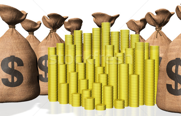 stacks of coins and bags of money Stock photo © TaiChesco