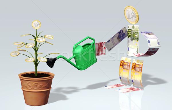 Pequeno euro moeda árvore vaso um Foto stock © TaiChesco