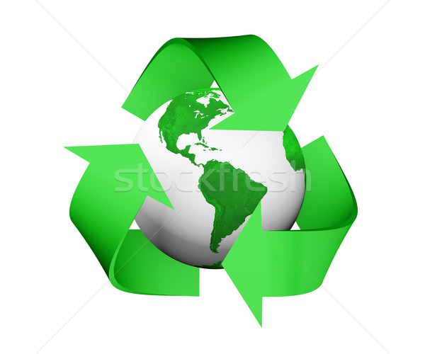 recycle icon is covering a green and white earth Stock photo © TaiChesco