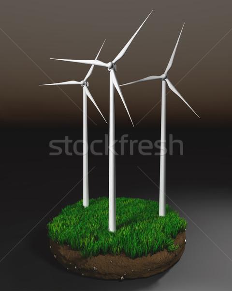 Rüzgâr toprak üç çimenli yalıtılmış karanlık Stok fotoğraf © TaiChesco