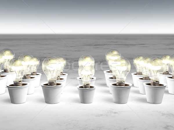 Rows of light bulbs with cold light Stock photo © TaiChesco