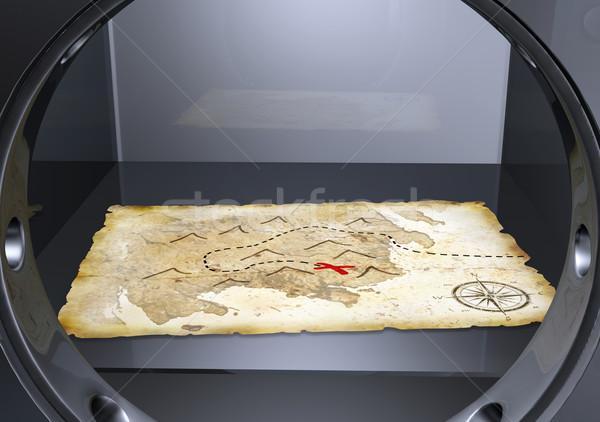 Mapa do tesouro seguro folha mentiras acima Foto stock © TaiChesco