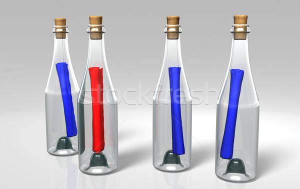 Renkli şişeler üç mavi kırmızı Stok fotoğraf © TaiChesco