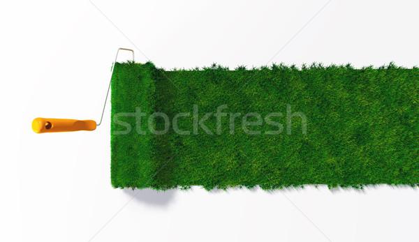 Haut vue herbeux peinture orange gérer Photo stock © TaiChesco